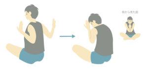 運動前のストレッチ⑤肩甲骨内転
